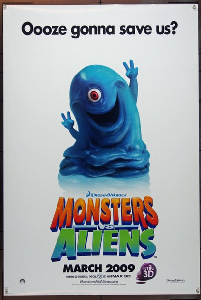 MONSTERS VS ALIENS (2009) 20653 Original Dreamworks One Sheet Poster (27x40). Double Sided. Advance. Very Fine Plus.