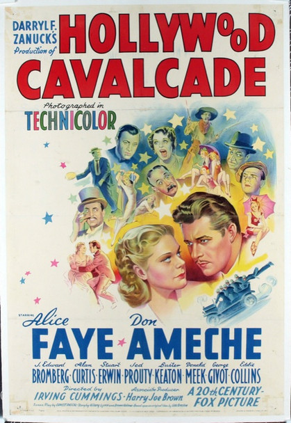 HOLLYWOOD CAVALCADE (1939) 19851 20th Century Fox Style B One Sheet Poster (27x41).  Linen-Backed on an older linen.  Fine to Very Fine.