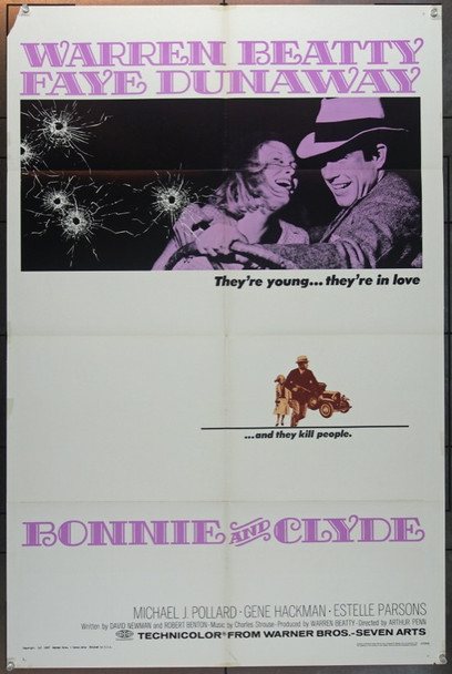 BONNIE AND CLYDE (1967) 18494 Original Warner Brothers One Sheet Poster (27x41).  Folded.  Very Good Condition