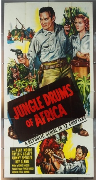 JUNGLE DRUMS OF AFRICA (1953) 4683 Original Republic Pictures Three Sheet Poster (41x81).  Folded.  Very Fine.