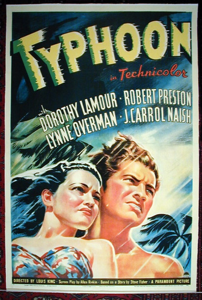 TYPHOON (1940) 15558 Original Paramount Pictures One Sheet Poster (27x41). Linen-Backed. Very Good Plus.