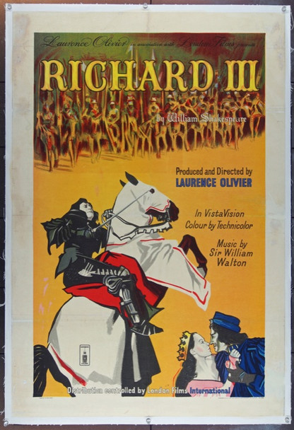 RICHARD III (1955) 8732 Original British One Sheet Poster (27x41). Stone Lithograph. Linen-Backed. Fine Condition.