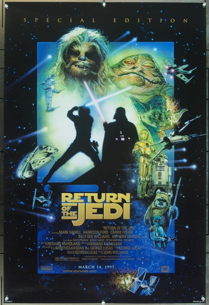RETURN OF THE JEDI (1983) 7406 Original 20th Century Fox 1997 Re-Release One Sheet Poster (27x41).  Drew Struzan Artwork.  Rolled.  Very Fine Plus.