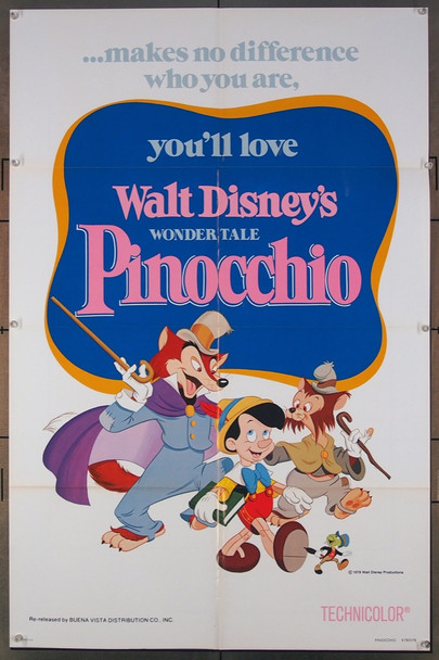 PINOCCHIO (1940) 3265 Original Walt Disney Productions 1978 Re-Release One Sheet Poster (27x41).  Folded.  Very Fine.