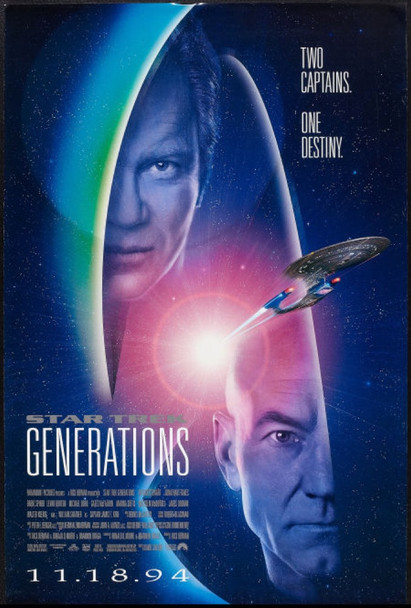 STAR TREK GENERATIONS (1994) 6114 Original Paramount Pictures One Sheet Poster (27x41).  Rolled.  Very Fine Plus.
