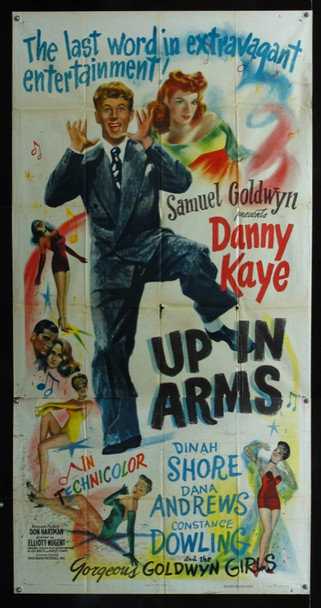 UP IN ARMS (1944) 18610    Samuel Goldywn Original Three Sheet Poster   41x81.  Folded.  Very Fine.