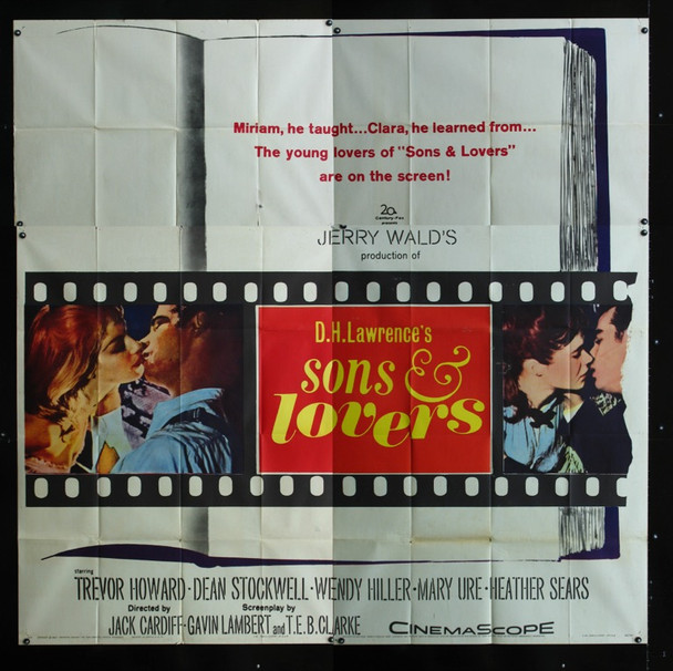 SONS AND LOVERS (1960) 18608 20th Century Fox Six Sheet Poster   81x81.  Fine Plus to Very Fine Condition.