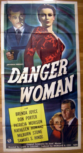 DANGER WOMAN (1946) 16215 riginal Universal Pictures Three Sheet Poster (41x81).  Never Used.  Folded.  Very Fine Plus.