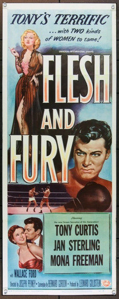 FLESH AND FURY (1952) 20758 Original Universal Pictures Insert Poster (14x36).  Folded.  Very Good.