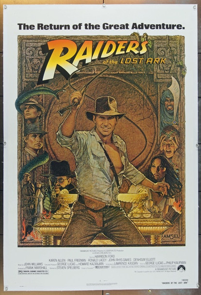 RAIDERS OF THE LOST ARK (1981) 1634 Original Paramount Pictures 1982 Reissued One Sheet Poster (27x41).  Linen-Backed.  Very Fine Condition.