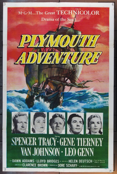 PLYMOUTH ADVENTURE (1952) 20794 Original MGM One Sheet Poster (27x41).  Folded.  Fine Plus To Very Fine Condition.
