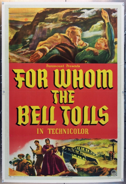FOR WHOM THE BELL TOLLS (1943) 24264 Paramount Style B One Sheet.  27x41.  Linen backed.  Very Fine