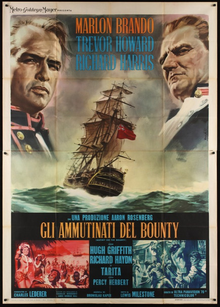 MUTINY ON THE BOUNTY (1962) 24379 MGM Style B Italian Quattro Poster (55x79).   Very Fine.  Art by Enzo Nistri