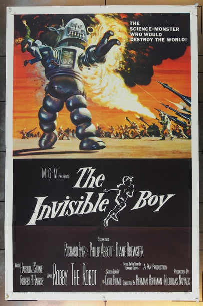INVISIBLE BOY, THE (1957) 12677 MGM One Sheet Poster.   27x41  Folded.  Fine Plus to Very Fine