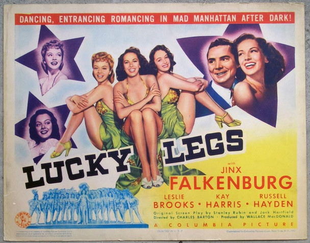 LUCKY LEGS (1942) 8903 LUCKY LEGSOriginal Columbia Pictures Title Lobby Card (11x14). Fine Plus.