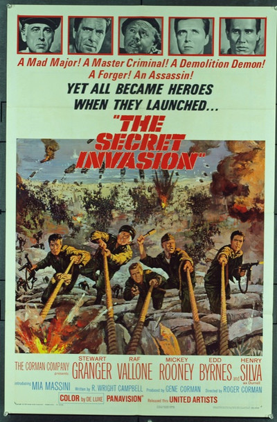 SECRET INVASION, THE (1964) 11284 United Artists One Sheet Poster   27x41   Folded.  Very Fine