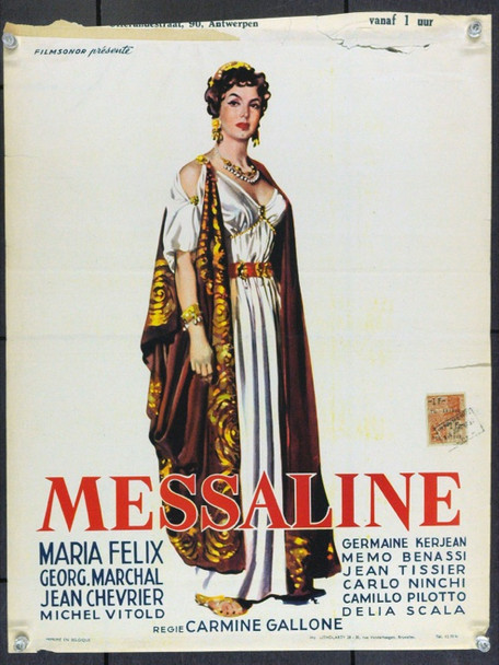 MESSALINA (1951) 6341 Original Belgian Poster (Trimmed 13x17). Very Good.