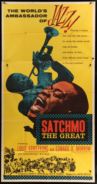 SATCHMO THE GREAT (1957) 24344 Original United Artists Three Sheet Poster (41x81).  Folded.  Very Fine Condition.