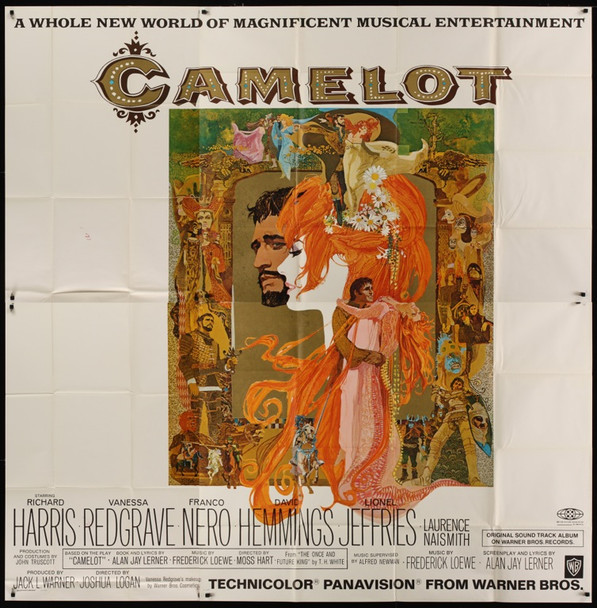 CAMELOT (1968) 24421 Warner Brothers Original Roadshow Engagement Six Sheet Poster   81x 81   Folded.  Very Fine