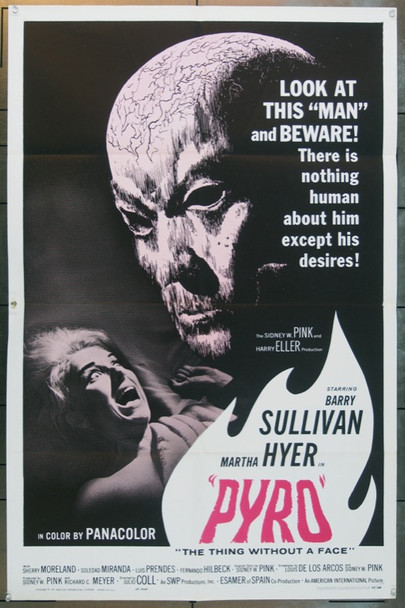 PYRO...THE THING WITHOUT A FACE (1964) 15866 American International One Sheet Poster    27x41   Folded   Very Fine