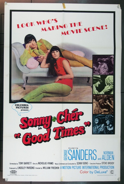 GOOD TIMES (1967) 18528 Original Columbia Pictures One Sheet Poster (27x41).  Folded.  Very Fine.