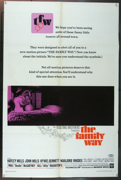 FAMILY WAY, THE (1967) 18522 Original Warner Brothers One Sheet Poster (27x41).  Folded.  Fine Condition.