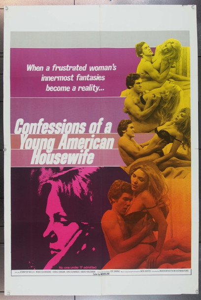 CONFESSIONS OF A YOUNG AMERICAN HOUSEWIFE   (1974) 23089 Original Associated Film Distributors One Sheet Poster (27x41).  Folded.  Very Fine.