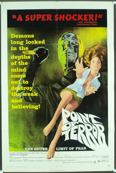 POINT OF TERROR (1971) 3772 Original Crown International Pictures One Sheet Poster (27x41). Fine condition.
