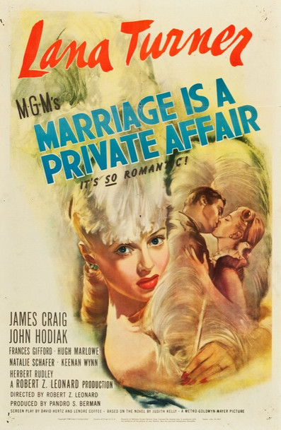 MARRIAGE IS A PRIVATE AFFAIR (1944) 24629 MGM Original One Sheet Poster  27x41  Folded  Very Fine Minus