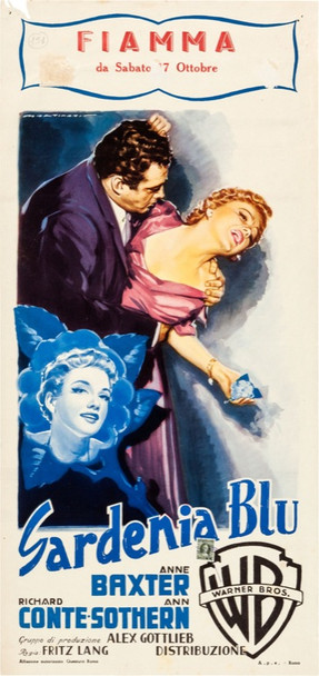 BLUE GARDENIA, THE (1953) 24621 Original Italian Locandina Poster (14x28).  Fine Plus to Very FIne.