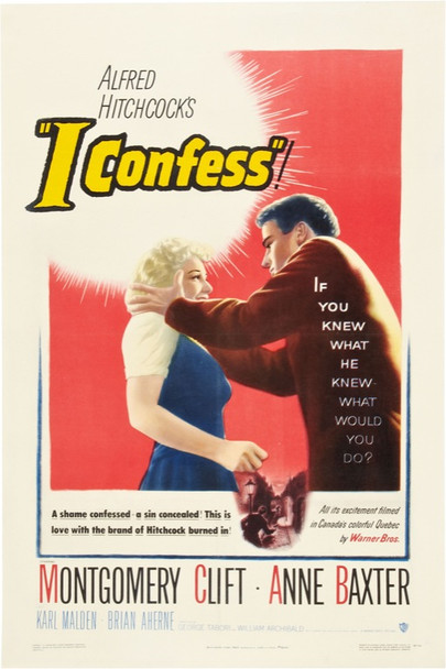 I CONFESS (1953) 20050 Warner Brothers One Sheet Poster  27x41  Linen backed.