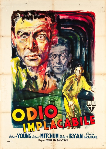 CROSSFIRE (1947) 24680 RKO Italian Two Foglio Poster.    39x55  Fine Plus Condition.  Art by Rinaldo Geleng.