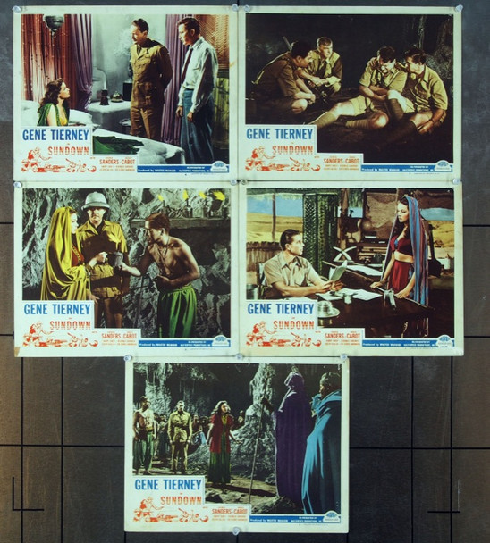 SUNDOWN (1941) 9269 Original Masterpiece Productions Late 1940s Re-Release Group of 5 Lobby Cards (11x14).  Very Good to Fine Condition.