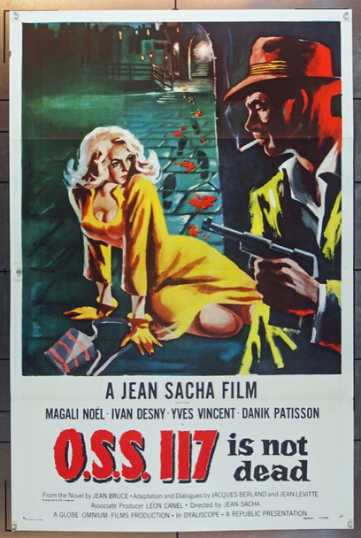 O.S.S. 117 IS NOT DEAD (1958) 14364  [O.S.S. 117 n'est pas mort] Republic Pictures One Sheet   27x41  Tri-folded.  Very Fine Plus