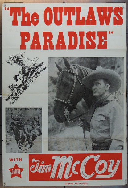 OUTLAWS'  PARADISE (1939) 15724 Re-release one sheet (40s)  27X40   Tri folded   Very Fine