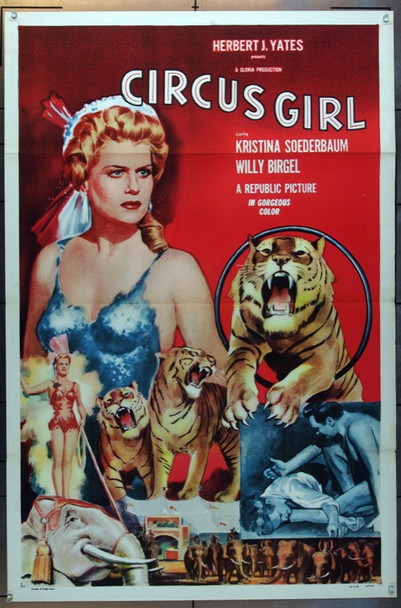 CIRCUS GIRL (1956) 14356 Republic Pictures One Sheet  (27x41).   Tri-Folded.   Very Fine Condition   Kristina Soderbaum