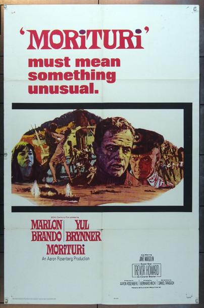 MORITURI (1965) 11279 20th Century Fox One Sheet Poster   27x41  Folded.  Very Good.