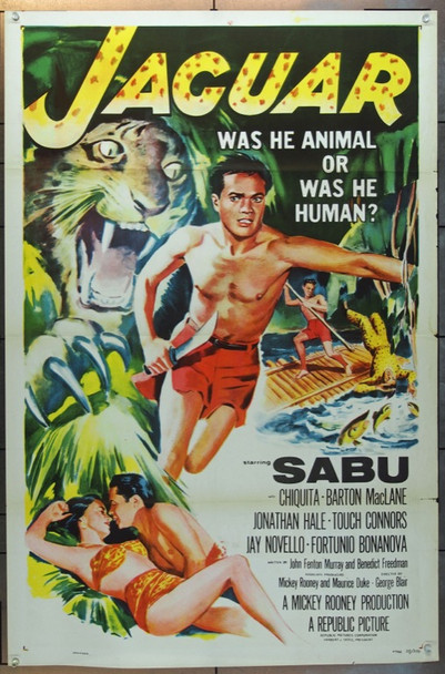 JAGUAR (1956) 14359 Original Republic Pictures One Sheet Poster (27x41).   Tri-Folded.  Very Fine Condition.
