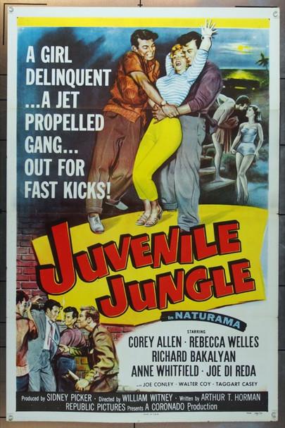 JUVENILE JUNGLE (1958) 14360 Original Republic Pictures One Sheet Poster (27x41).  Tri-Folded.  Very Fine Plus.