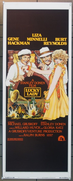 LUCKY LADY (1975) 12330 Original 20th Century-Fox Insert Poster (14x36).   RICHARD AMSEL ART.  Rolled.  Very Fine Plus Condition.