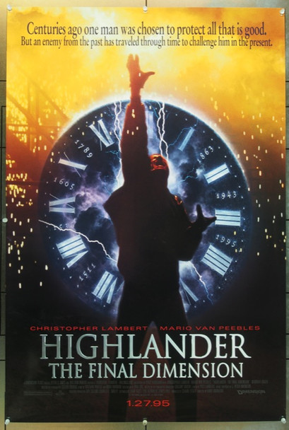 HIGHLANDER III: THE SOCERER (1994) 6276 Miramax Original One Sheet Poster   27x40  Rolled  Single sided.  Very Fine Plus