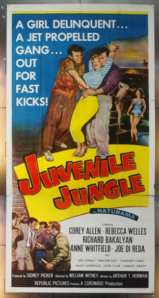 JUVENILE JUNGLE (1958) 15164 Original Republic Pictures Three Sheet Poster (41x81).  Folded.  Very Fine Condition.