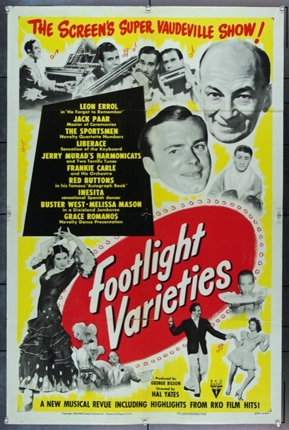 FOOTLIGHT VARIETIES (1951) 22434 RKO One Sheet Poster   27x41  Folded   Fine Plus    JACK PAAR    JERRY MURAD'S HARMONICATS