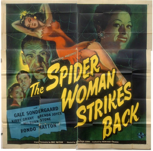 SPIDER WOMAN STRIKES BACK, THE (1946) 16327 Universal Pictures Six Sheet Poster   81x81  Folded.   Fine to Fine Plus