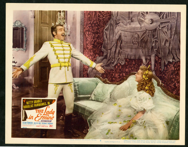 THAT LADY IN ERMINE (1948) 2517 Original 20th Century-Fox Scene Lobby Card (11x14).  Very Fine Plus Condition.    BETTY GRABLE  & DOUGLAS FAIRBANKS