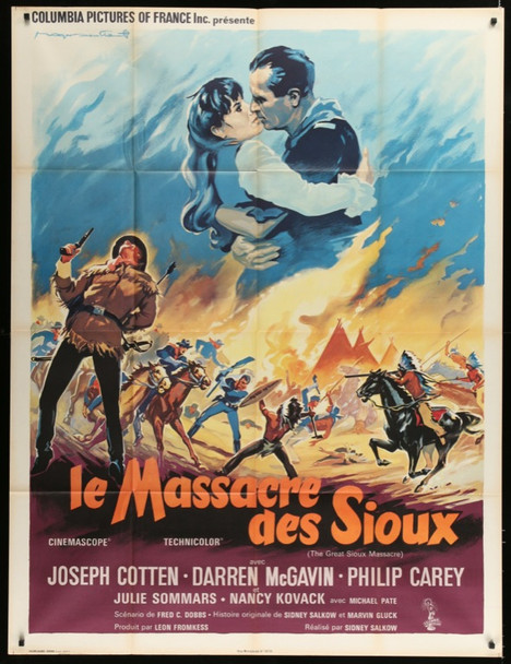 GREAT SIOUX MASSACRE, THE (1965) 24801 Columbia Pictures Original French Grande  Folded    47x63   Very Fine      ART BY ROGER SOUBIE