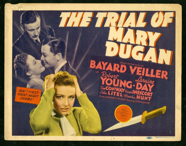 TRIAL OF MARY DUGAN, THE (1941) 2560 Original MGM Title lobby card    11x14   Fine Plus Condition     ROBERT YOUNG and LARAINE DAY