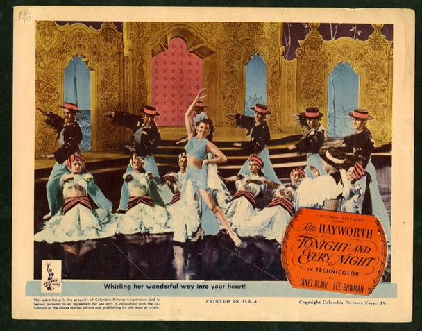 TONIGHT AND EVERY NIGHT (1945) 2559 Columbia Pictures Scene lobby card     11x14   Fine Condition   RITA HAYWORTH ON STAGE
