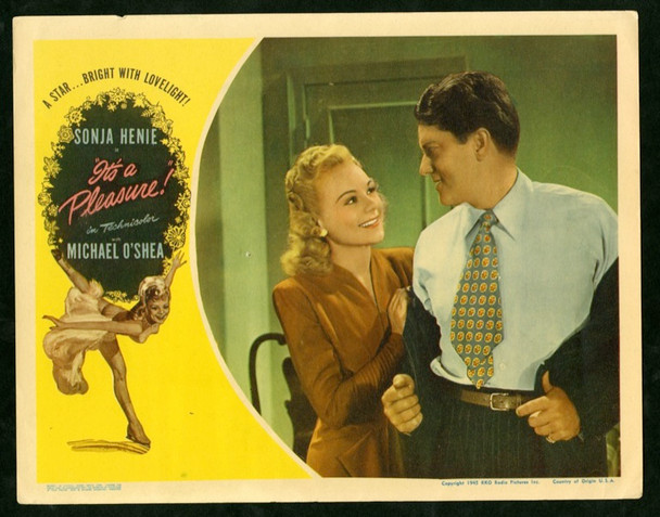 IT'S A PLEASURE (1945) 2545 Original RKO Scene Lobby Card (11x14).  Fine Plus Condition   OLYMPIC ICE SKATER SONJA HENIE