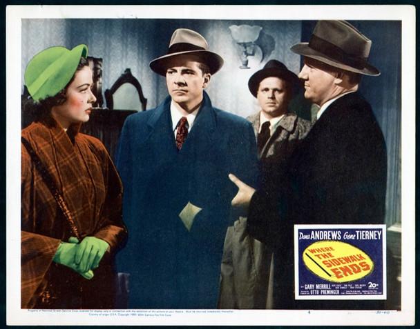 WHERE THE SIDEWALK ENDS (1950) 2515 20th Century Fox Scene Lobby Card    11x14   Very Fine Condition